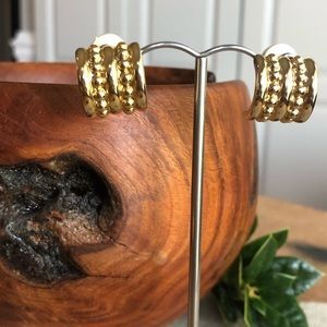 Vtg Givenchy Goldtone Clip HalfHoop Earring